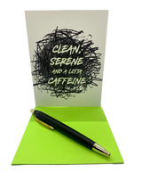 """Clean, serene and a lot of caffeine.  4.25"""" x 5.5"""" card is blank inside. Printed on heavyweight 100% cotton card stock. Includes a matching A2 envelope."""