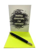 """Trading hangovers for happiness. 4.25"""" x 5.5"""" card is blank inside. Printed on heavyweight 100% cotton card stock. Includes a matching A2 envelope."""