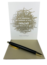 "With everything you overcame in 2020 imagine what you'll do in 2021. Keep Crushing It!  4.25"" x 5.5"" card is blank inside. Printed on heavyweight 100% cotton card stock. Includes a matching A2 envelope."