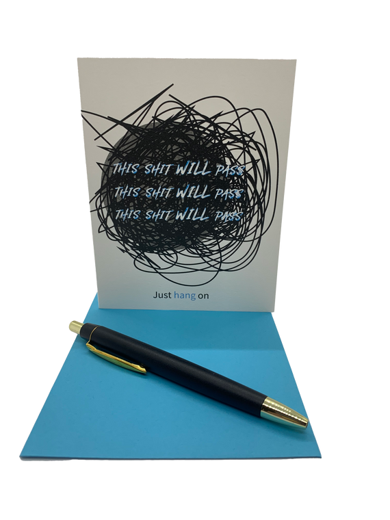 """This shit will pass. 4.25"""" x 5.5"""" card is blank inside. Printed on heavyweight 100% cotton card stock. Includes a matching A2 envelope."""