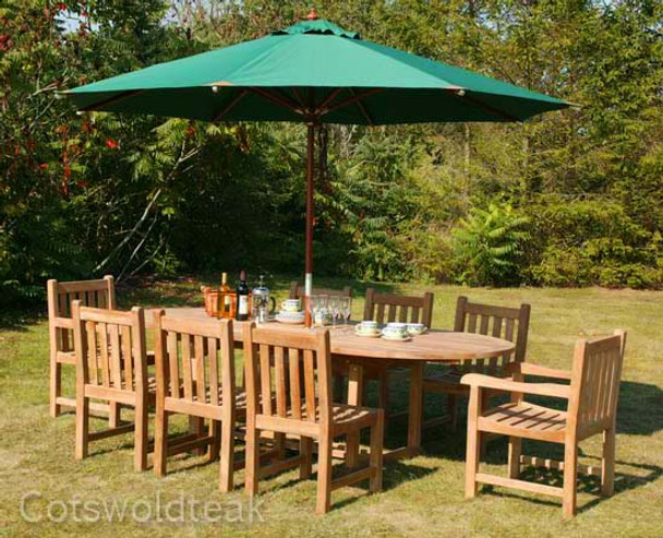 Extending Oval Solid Teak 8 Seater Table with Grisdale Chairs Garden Set  - 180cm - 240cm