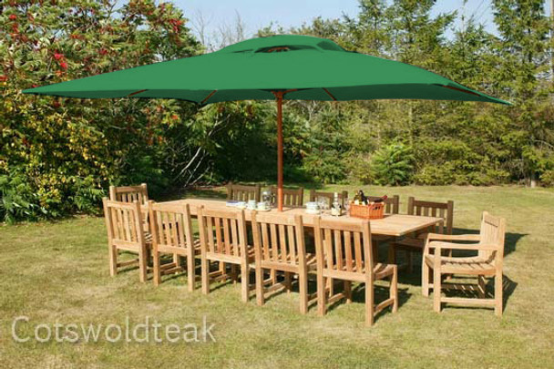 Extending Rectangular Solid Teak 12 Seater Table with Grisdale Chairs Garden Set  - 240cm - 300cm