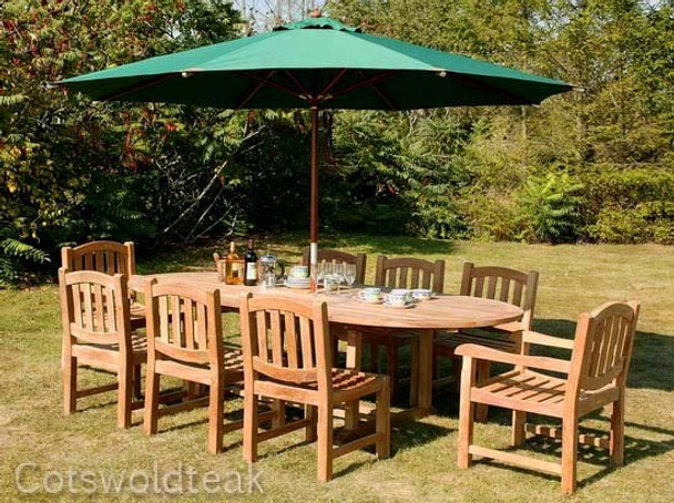 Extending Oval Solid Teak 8 Seater Table with Malvern Chairs Garden Set  - 180cm - 240cm