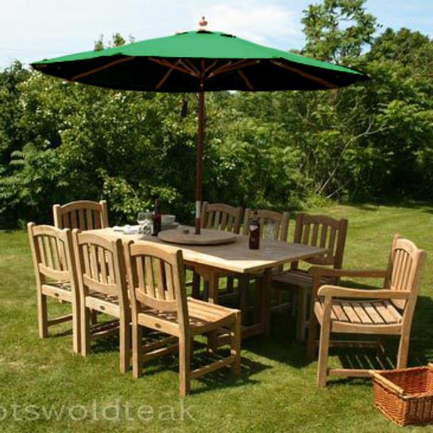Extending Rectangular Solid Teak 8 Seater Table with Malvern Chairs Garden Set  - 120cm - 180cm