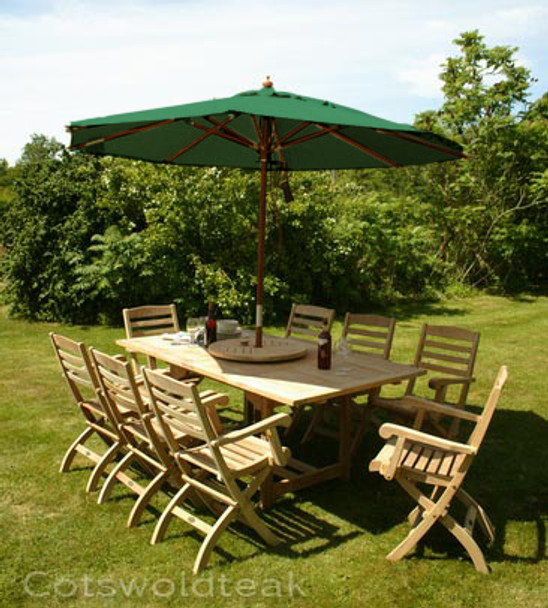 Extending Rectangular Solid Teak 8 Seater Table with Wenlock Chairs Garden Set  - 120cm - 180cm