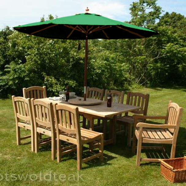 Extending Rectangular Solid Teak 8 Seater Table with Malvern Chairs Garden Set  - 180cm - 240cm