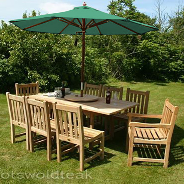 Extending Rectangular Solid Teak 8 Seater Table with Grisdale Chairs Garden Set  - 120cm - 180cm