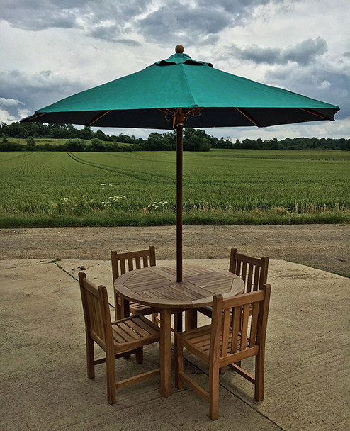 Round Solid Teak 4 Seater Table with Grisdale Chairs Garden Set  - 120cm