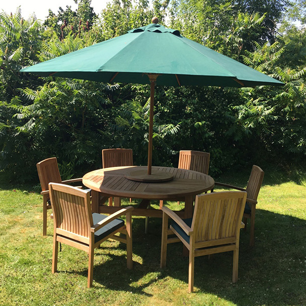 Round Solid Teak 6 Seater Table with Henley Chairs Garden Set  - 160cm