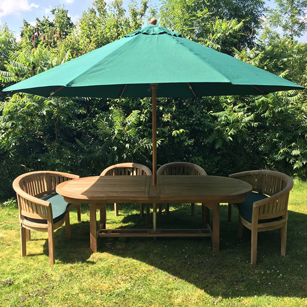 Extending Oval Solid Teak 8 Seater Table with Crummock Bench and Chair Garden Set  - 180cm - 240cm