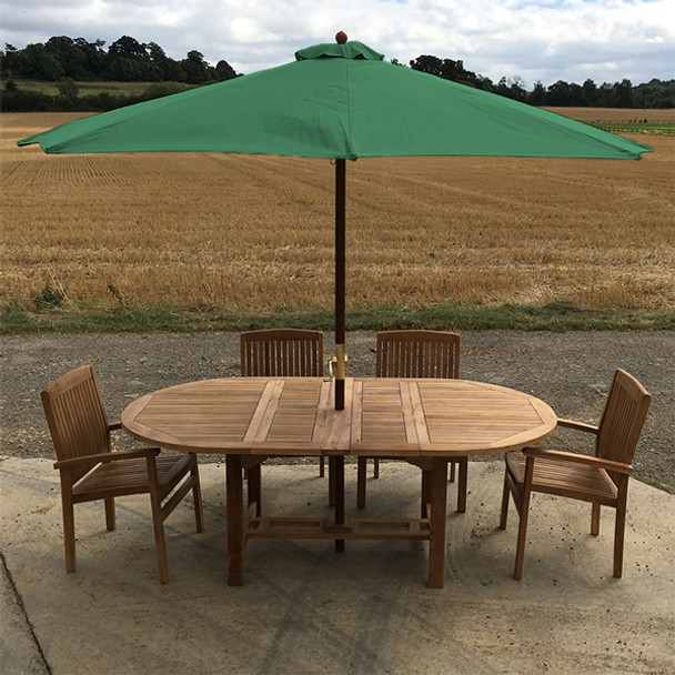 Extending Oval Solid Teak 6 Seater Table with Henley Chairs Garden Set  - 130cm - 180cm