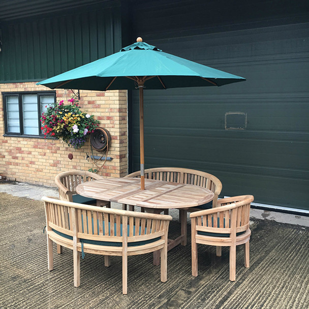 Extending Oval Solid Teak 6 Seater Table with Crummock Bench and Chair Garden Set  - 130cm - 180cm