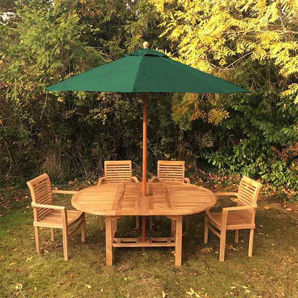 Extending Oval Solid Teak 6 Seater Table with Tingewick Chairs Garden Set  - 130cm - 180cm