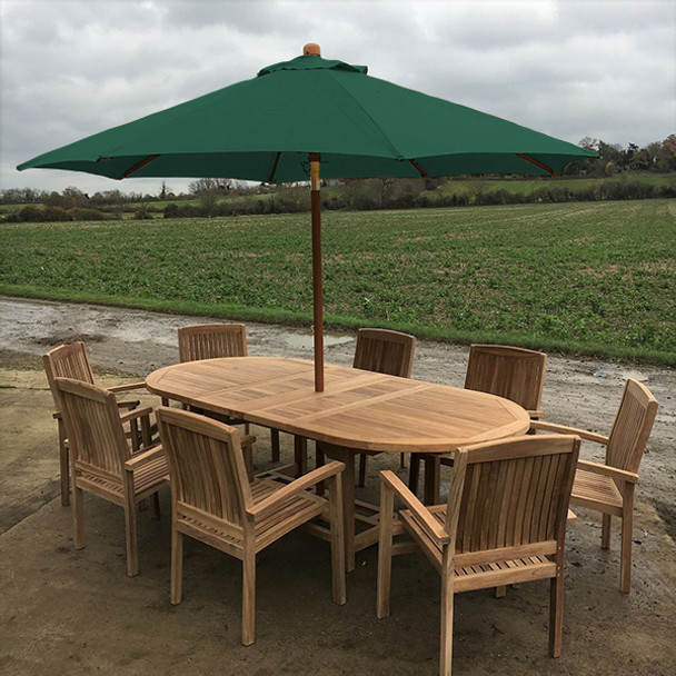 Extending Oval Solid Teak 8 Seater Table with Henley Chairs Garden Set  - 180cm - 240cm