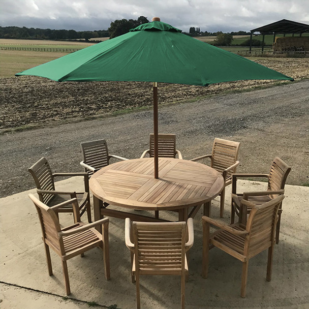 Round Solid Teak 8 Seater Table with Tingewick Chairs Garden Set - 160cm