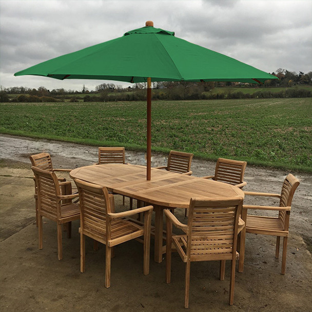 Extending Oval Solid Teak 8 Seater Table with Tingewick Chairs Garden Set  -180cm - 240cm
