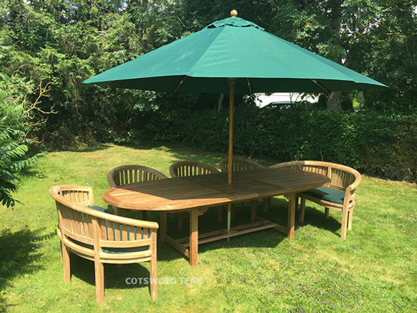 Extending Oval Solid Teak 10 Seater Table with Crummock Chairs and Benches - 240cm-300cm