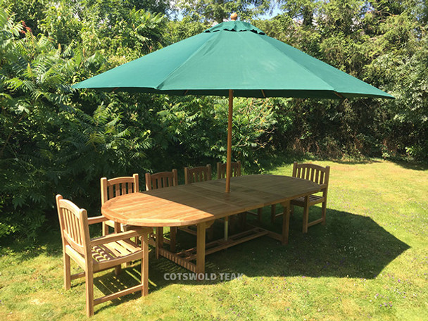 Extending Oval Solid Teak 10 Seater Table with Malvern Chairs Garden Set  - 240cm - 300cm