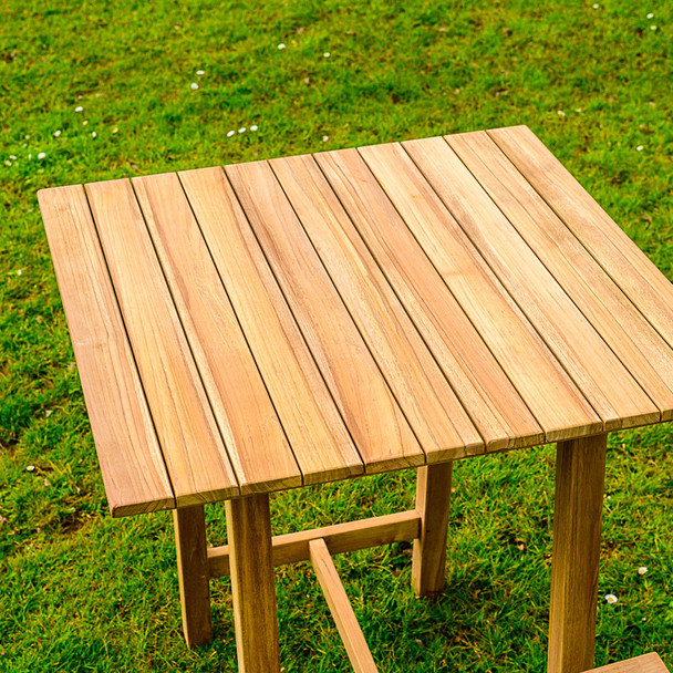 Two Seater Solid Teak Keros Bar Table - 80cm x 80cm x 93cm