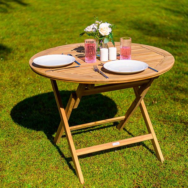 Four Seater Solid Teak Folding Turin Garden Table - 80cm x 74cm