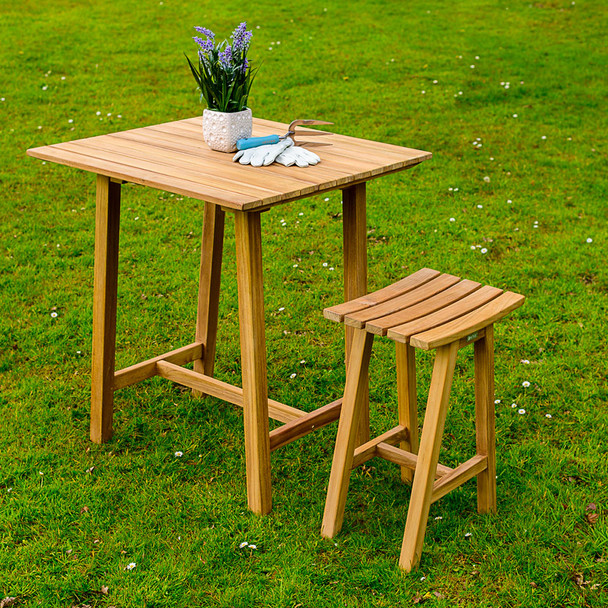 Solid Teak Keros Bar Table & 2 Bar Stools