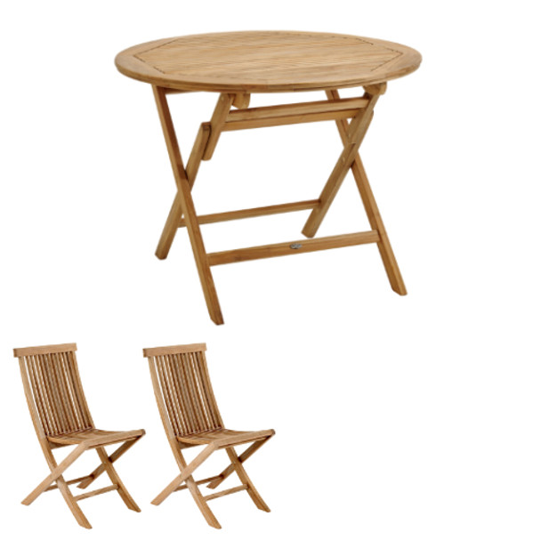 Two Seater Solid Teak Folding Turin Garden Table & Two Deck Chairs - 80cm x 74cm