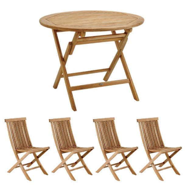 Four Seater Solid Teak Folding Turin Garden Table & Four Deck Chairs - 80cm x 74cm