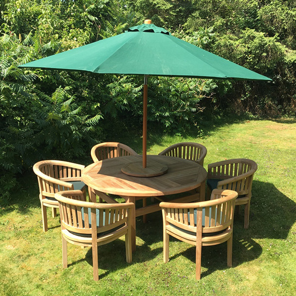 Round Solid Teak 6 Seater Table with Crummock Chairs Garden Set  - 150cm