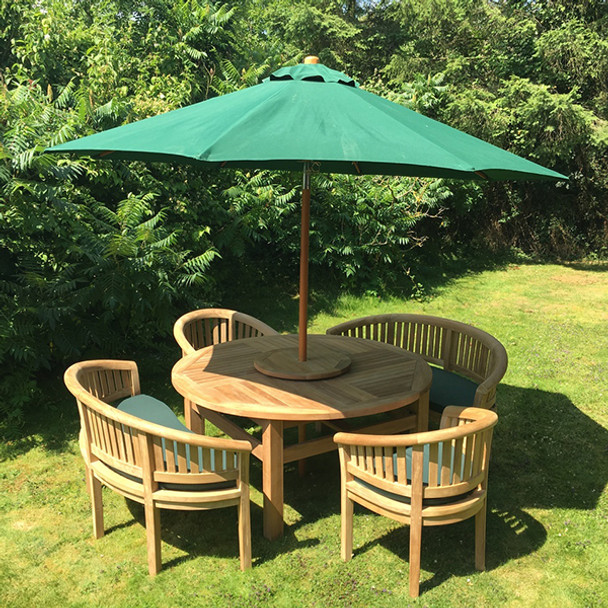Round Solid Teak 6 Seater Table with Crummock Bench and Chair Garden Set  - 150cm