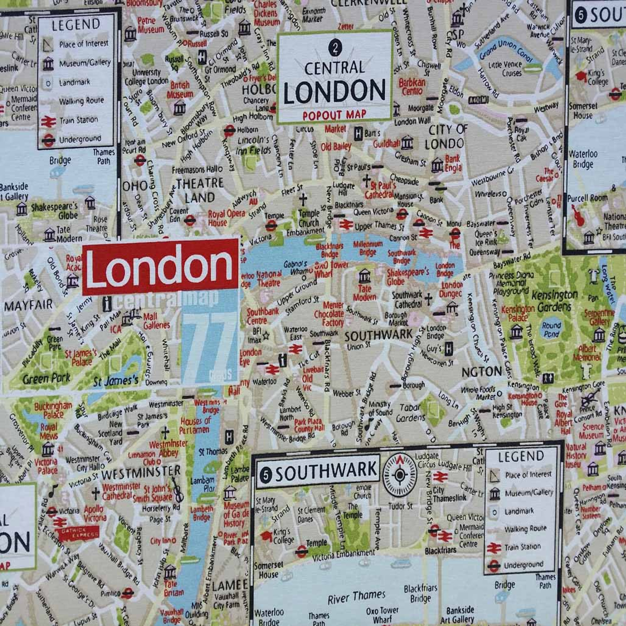 The Mall London Map.Central London Map Print Fabric