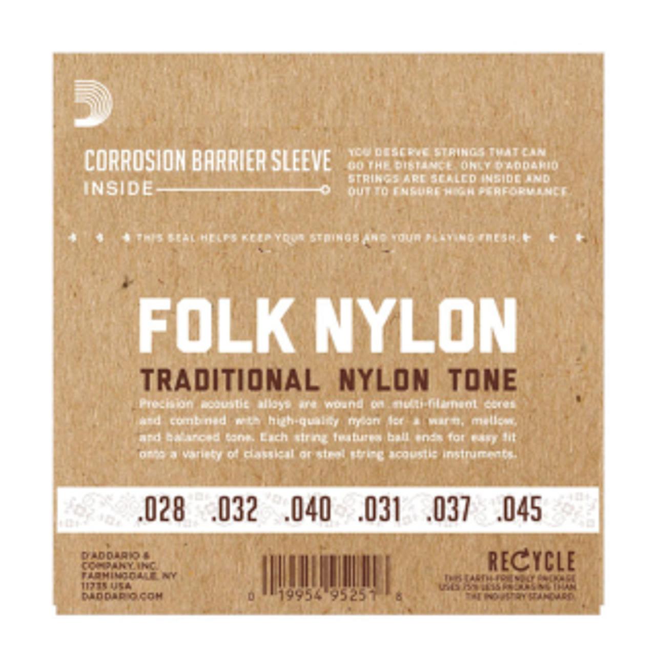 D/'Addario EJ34 Black Nylon Ball End Folk Guitar Strings