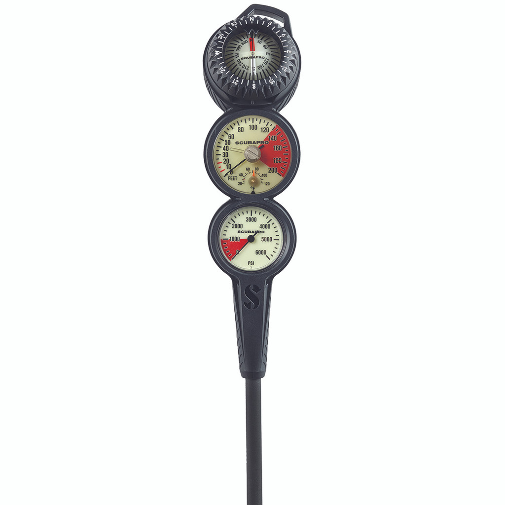 SCUBAPRO metal pressure gauge, depth gauge and FS-2 compass