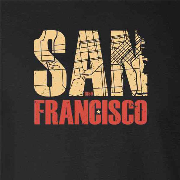 San Francisco California Retro Map Travel