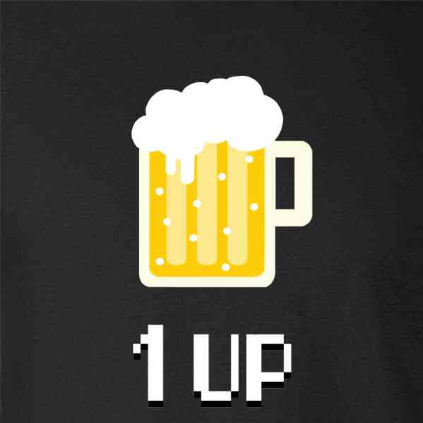 Beer 1-Up Retro Video Game Funny