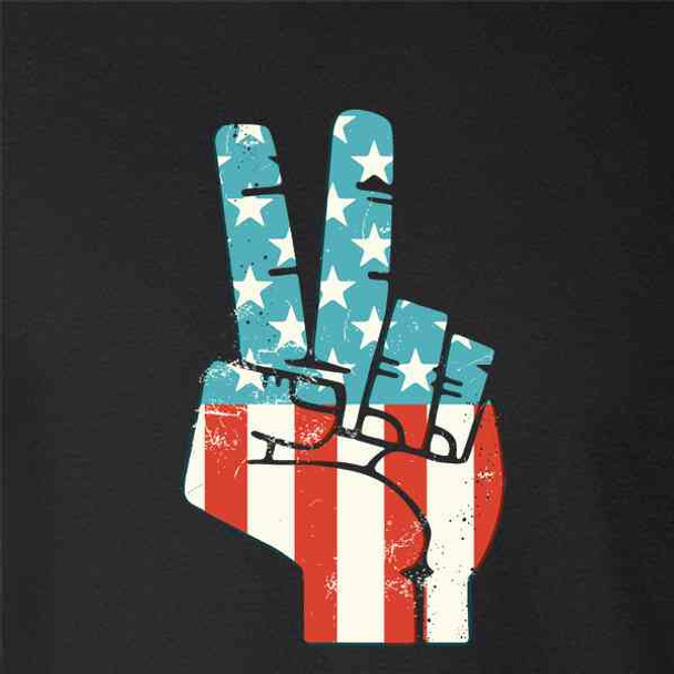American Flag Peace Sign Hand Retro