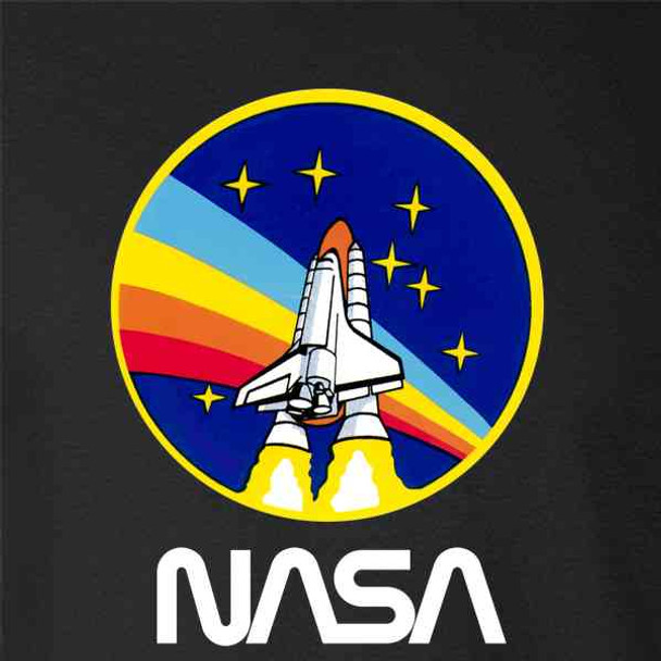 NASA Approved Shuttle Rainbow Blastoff Graphic 80s