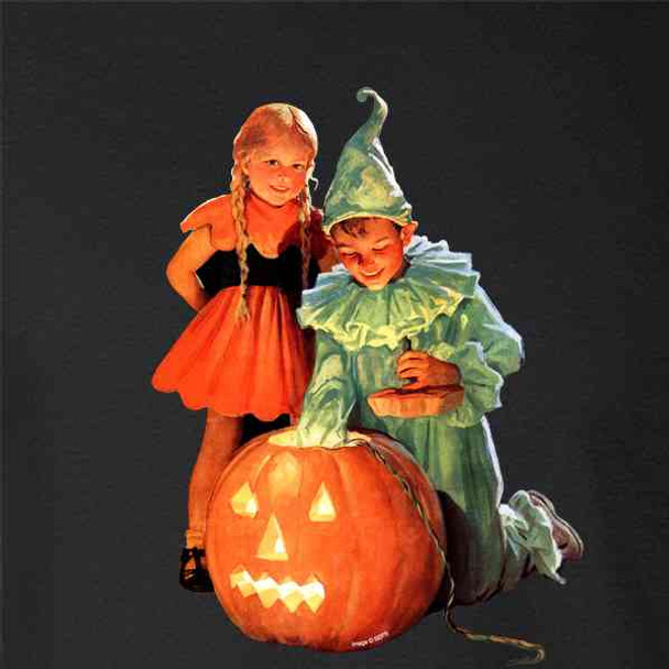 Costumed Kids Jackolantern Vintage Halloween Art