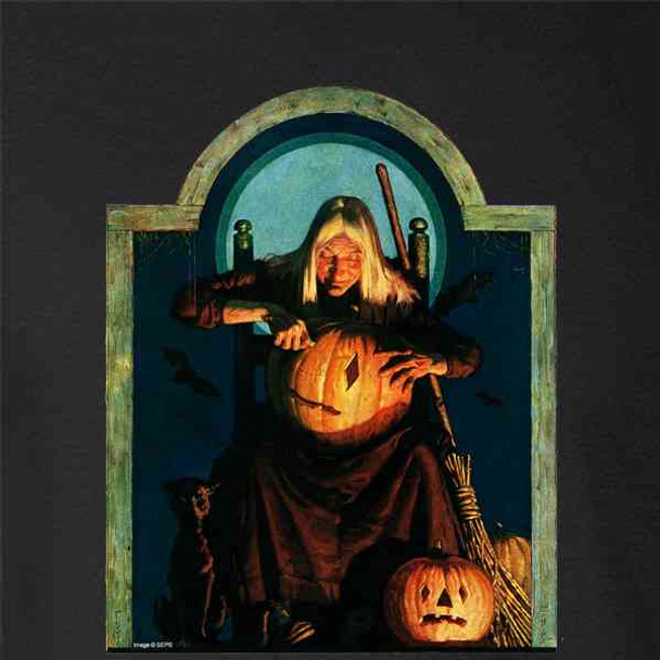 Witch Carving Pumpkin Retro Vintage Halloween