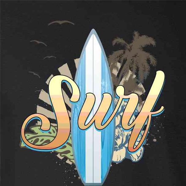Surf Retro Graphic Surfing Surfboard Beach