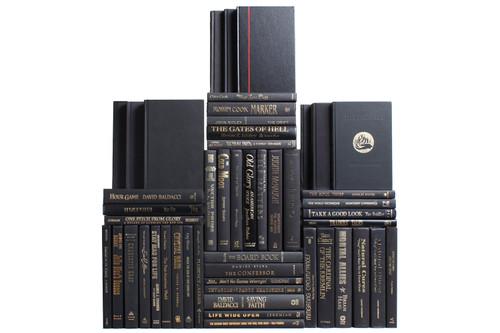 Modern Onyx & Gold Book Wall, S/50