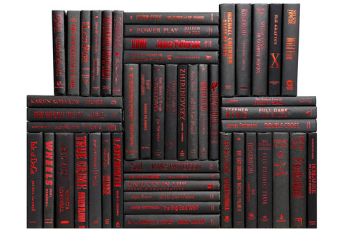 Modern Onyx & Red Book Wall, S/50