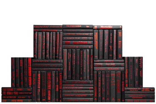Modern Onyx & Red Book Wall, S/75