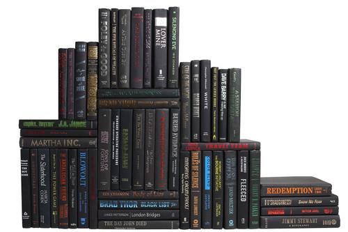 Modern Onyx & Metallic Book Wall, S/50