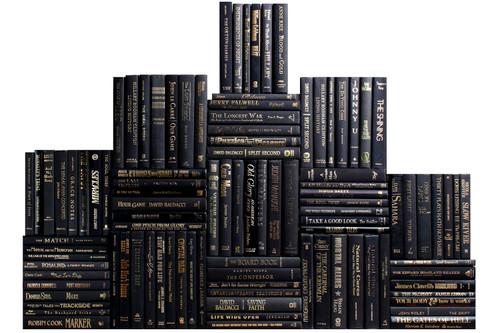 Modern Onyx & Gold Book Wall, S/100