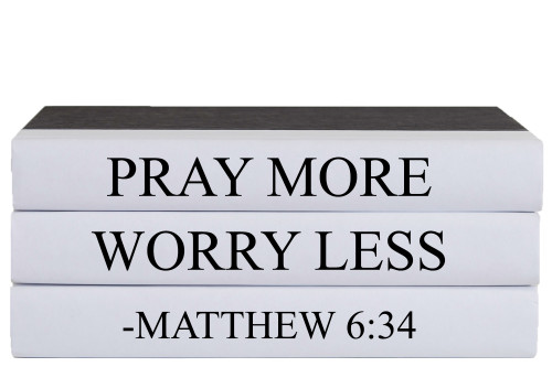Pray More Worry Less Quote Book Stack, S/3