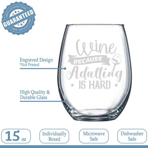 NeeNoNex Mama Bear Stemless Wine Glass Mothers Day Gift