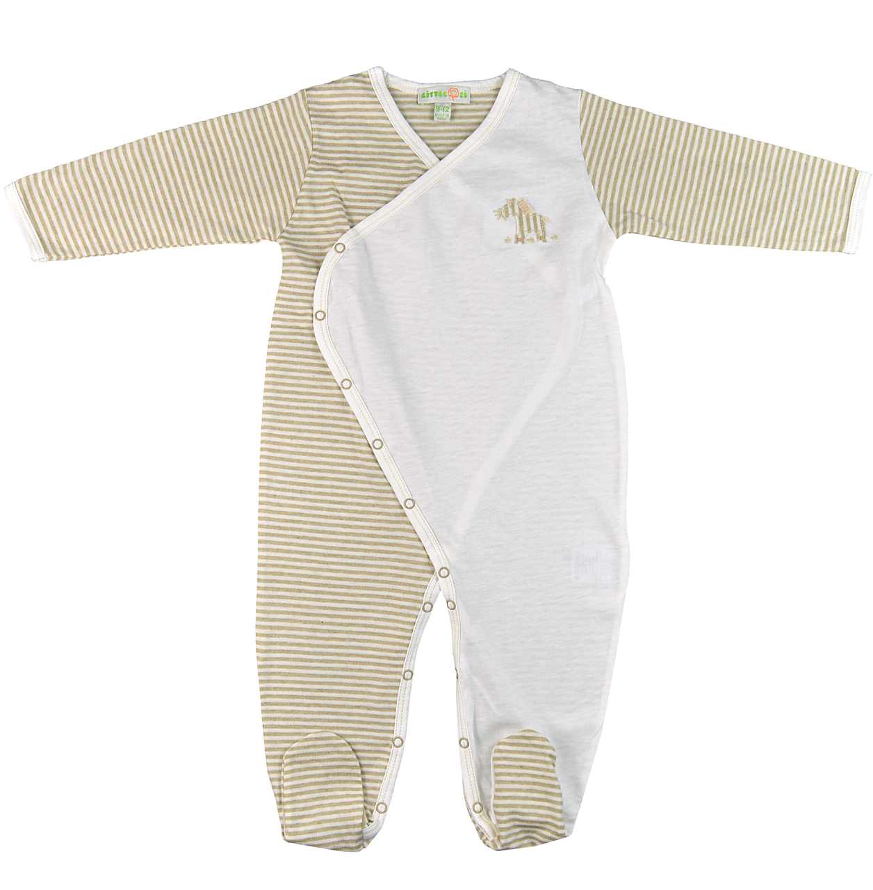 6e9bb2088a Little Zi  Zebra Organic Striped   Natural White Cross-Buttoned  Long-Sleeved Footed