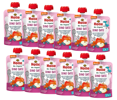 12 Pouches of Holle Apple, Blueberry & Dates puree pouches