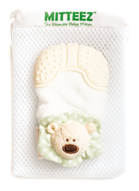 Mitteez organic teething mitten, Green pea bear