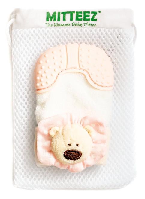 Mitteez organic teething mitten, Pink pea bear